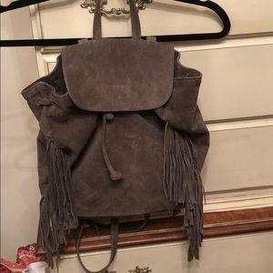 D2 Grey Suede Leather backpack Bag